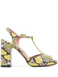 L'autre Chose Snakeskin Print Sandals Yellow