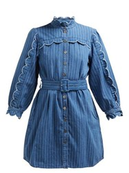 M.I.H Jeans Covey Scalloped Cotton Chambray Dress Blue Stripe
