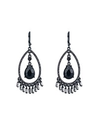 Carolee Open Teardrop Pave Earrings Hematite