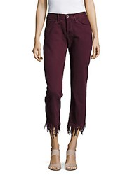 3X1 Fringed Cuff Cropped Cotton Pants Mulberry