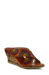 L'artiste Enticing Wedge Sandal Camel Leather