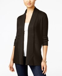 Jm Collection Petites Petite Open Front Ribbed Cardigan Only At Macy's Espresso Roast