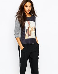 Maison Scotch Photoprinted Woven Mix T Shirt In Pineapple Print Black