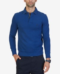 Nautica Men's Classic Fit French Ribbed Polo Estate Blue