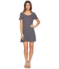 Culture Phit Lea Short Sleeve Striped Dress Navy Ivory Women's Dress Blue