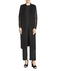 Maje Mastering Leather Sleeve Duster Cardigan Black