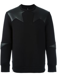 Neil Barrett Faux Leather Insert Sweatshirt Black