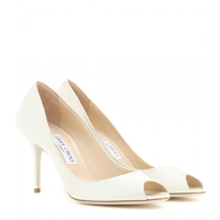 Jimmy Choo Evelyn Patent Leather Peep Toe Pumps Off White