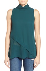 Leith Mock Neck Sleeveless Top Green Ponderosa