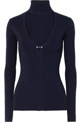 Dion Lee Embellished Cutout Merino Wool Blend Turtleneck Sweater Navy