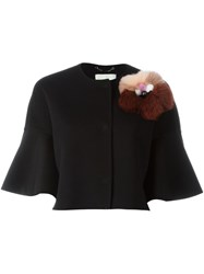 Fendi Fur Applique Jacket Black
