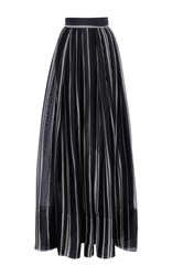 Martin Grant Striped Long Pleated Skirt Black