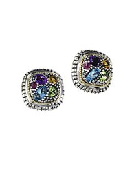 Effy Semi Precious Multi Stone Sterling Silver And 18K Yellow Gold Stud Earrings