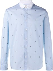 Gucci Floral Embroidered Striped Shirt Blue
