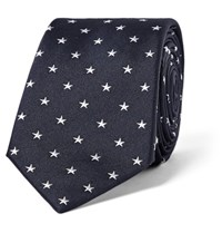 Paul Smith 6Cm Star Embroidered Silk Tie Midnight Blue