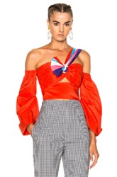 Peter Pilotto Paneled Taffeta Top In Red Stripes Red Stripes