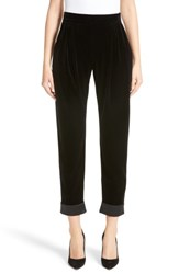 Armani Collezioni Women's Stretch Velvet Ankle Pants Black