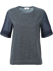 Folk Contrast Sleeve T Shirt Grey