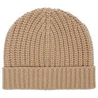Reiss Toby Ribbed Beanie Hat Oatmeal