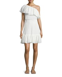 Rebecca Taylor One Shoulder Tiered Gauze Dress White