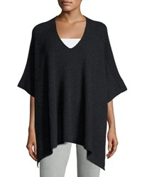 Vince Cashmere Ribbed V Neck Poncho Charcoal
