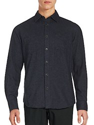 James Campbell Long Sleeve Solid Button Down Shirt Navy