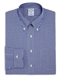 Brooks Brothers Dobby Gingham Classic Fit Dress Shirt Navy