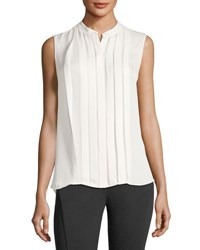 Elie Tahari Terri Sleeveless Pleated Silk Blouse Antique