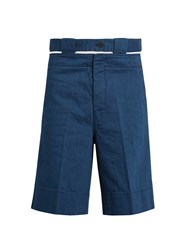 Marni Cut Out Belt Denim Shorts Blue
