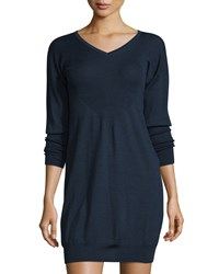 See By Chloe Wool Long Sleeve V Neck Dress Navy