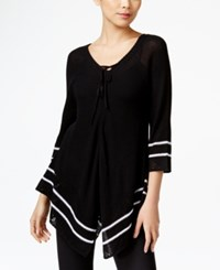 Ny Collection Petite Lace Up Striped Sweater Agnes