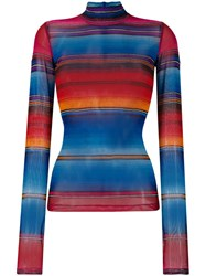House Of Holland Striped Turtle Neck Top Blue