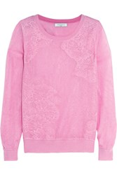 Sandro Sonate Lace Paneled Knitted Sweater Pink