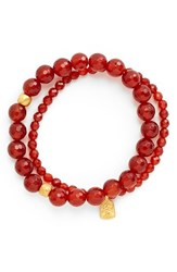 Women's Satya Jewelry Beaded Stretch Bracelets Carnelian Set Of 2