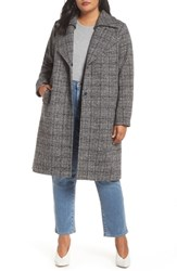 Halogen Plus Size Double Fold Collar Coat Blue Plaid