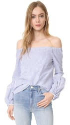 Wayf Rushville Off Shoulder Top Blue Stripe