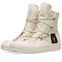 Rick Owens Drkshdw Canvas Criss Cross Laced High Top Sneaker White