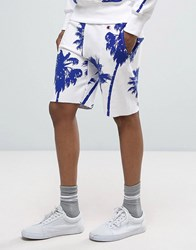 Champion Shorts With All Over Palm Print White