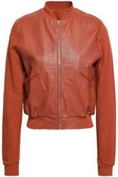 Majestic Filatures Leather Paneled Cotton Bomber Jacket Brick