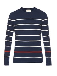 Solid And Striped Cotton Long Sleeved Top Navy Multi
