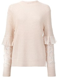 Tanya Taylor Openwork Sweater Nude And Neutrals