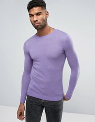 Asos Crew Neck Cotton Jumper In Muscle Fit Lilac Purple
