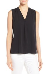 Classiques Entierr Women's Entier Stretch Silk Shirred V Neck Top Black