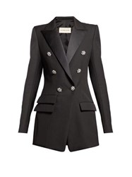 Alexandre Vauthier Crystal Button Double Breasted Wool Blazer Black