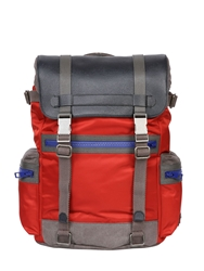 Dolce And Gabbana Dauphine Leather And Nylon Backpack Red