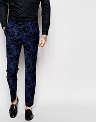 Noose And Monkey Suit Trousers With Stretch And Floral Flocking In Skinny Fit Blue