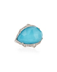 Stephen Webster Turquoise Quartz Doublet Oval Ring W Diamonds Size 7