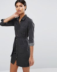 Asos Denim Belted Shirt Dress In Washed Black Washed Black