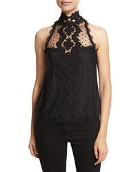 Nanette Lepore Sleeveless High Neck Lace Tank Black