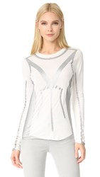 Herve Leger Long Sleeve T Shirt Alabaster Combo